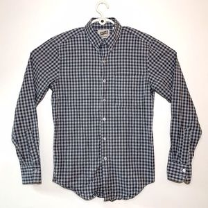 Naked and Famous Button Down Shirt Gray Checkered